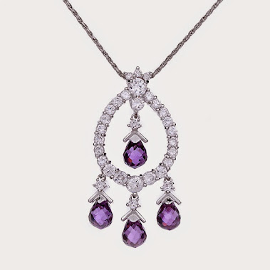Formal Necklace Purple Crystal