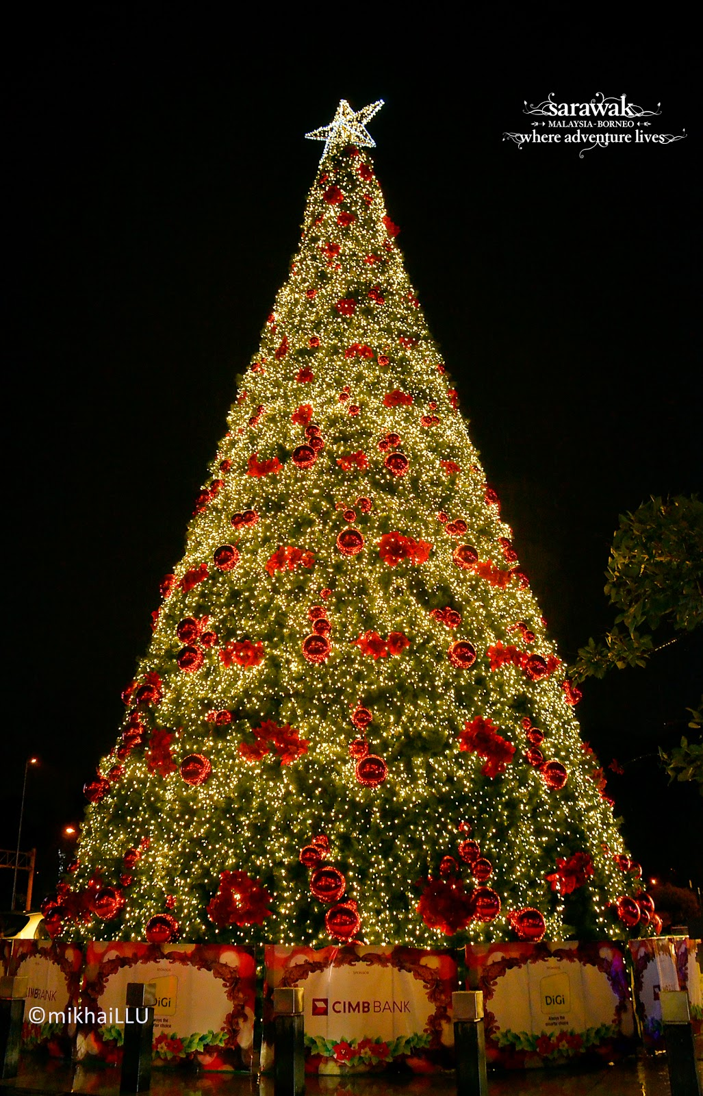 beautifully lit 46-footer Christmas tree outside tHe Spring Shopping Center