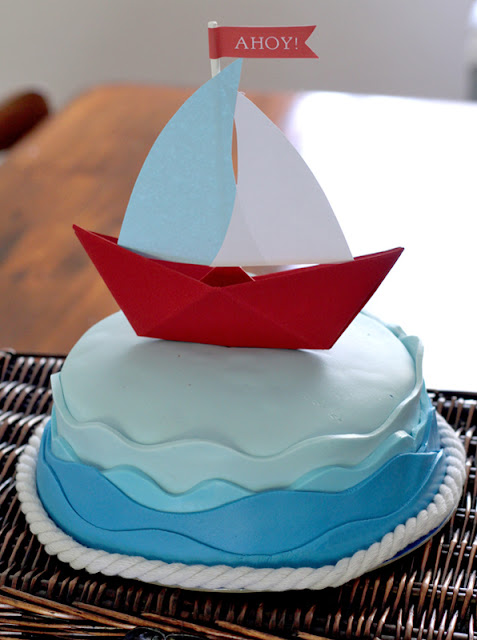 ahoy its a boy baby shower table boat