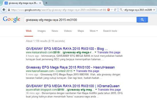 Kedudukan rank Google Giveaway EFG Mega Raya 2015 RM3100