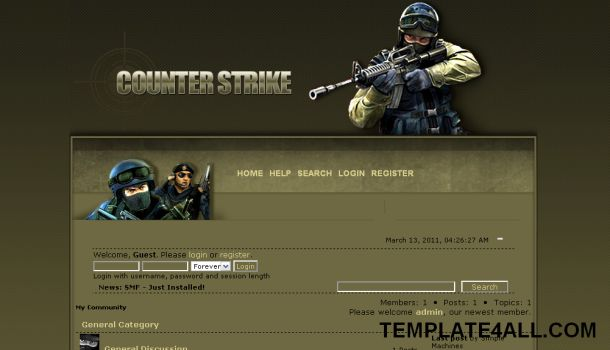 Counter Strike Games SMF Theme Template