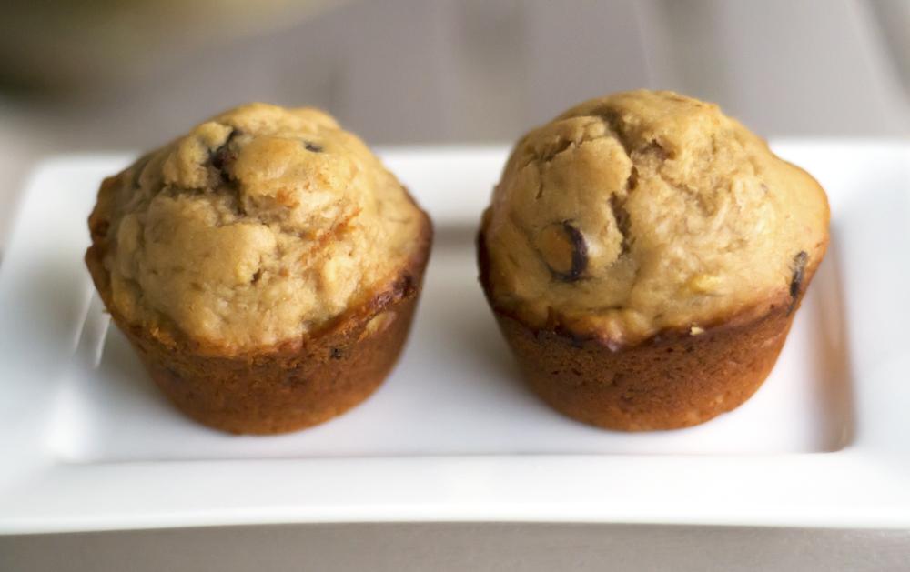 Peanut Butter Chocolate Chip Banana Muffins [Secret Recipe Club]