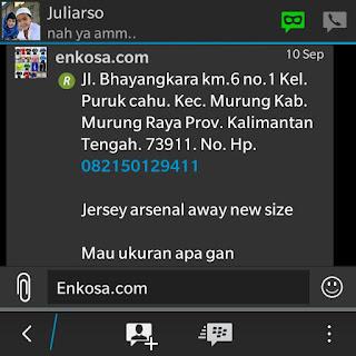 Konfirmasi ukuran jersey yang di pesan oleh Juliarso di enkosa sport
