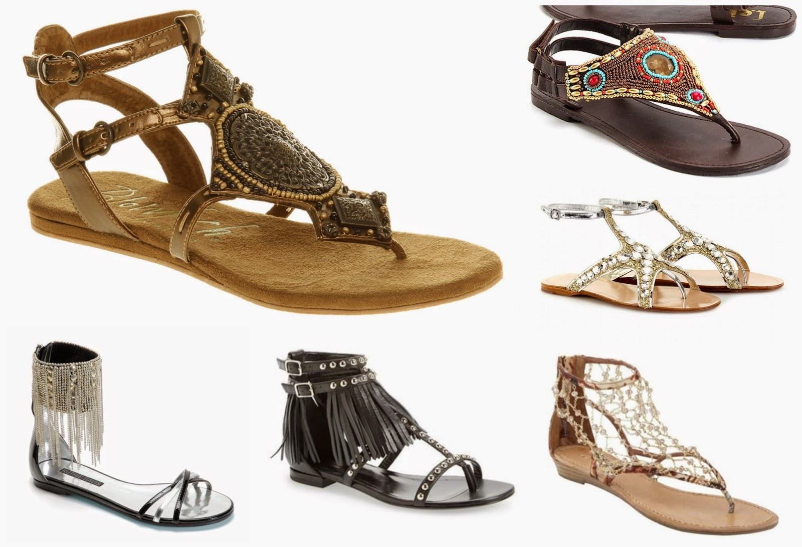 Sandals, flats, summer trends in shoes, must have flats , summer must haves, fringed sandals, ankle strap sandals, multi strap sandals