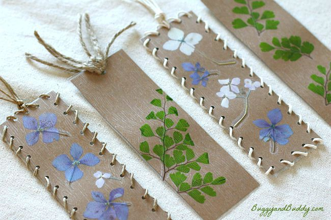 make pressed flower bookmarks with kids!
