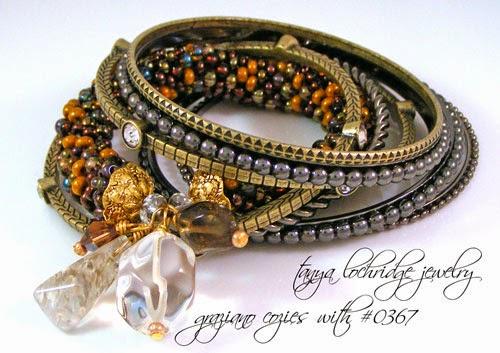 Rutilated, Clear & Smoky Quartz gemstone Bead Bangle Bracelet