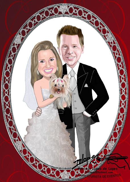 caricatura de noivos para convite