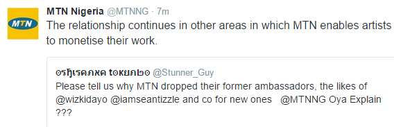 MTN explains why they dropped Wizkid, Sean Tizzle & Timaya as ambassdors