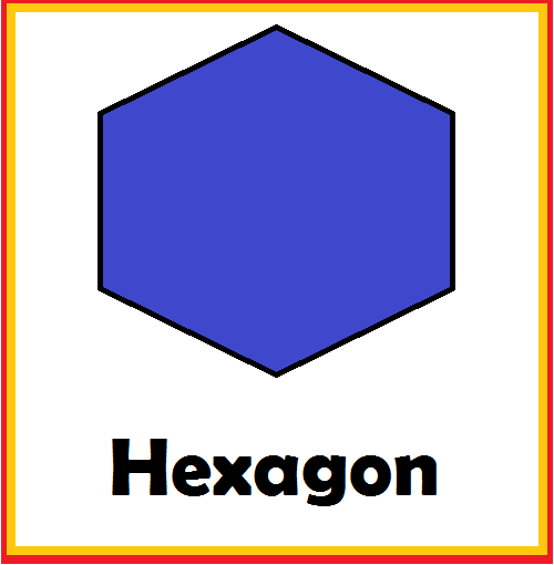 Kindergarten Worksheets: Shapes Flashcards - Hexagon