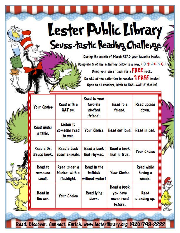 Seuss Tastic Reading Challenge For March on Best Read Across America Images On Pinterest Books Dr