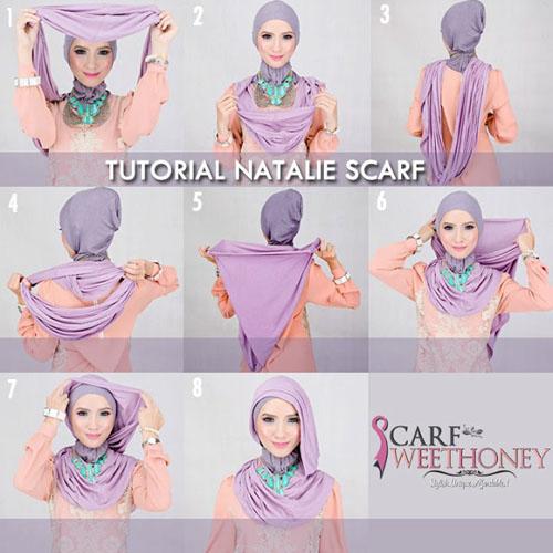 cara memakai hijab modern scarf 1