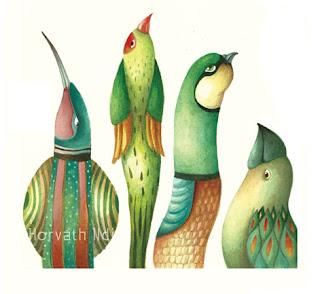 zöld madarak néznek az ég felé, színesek, green birds watching the sky
