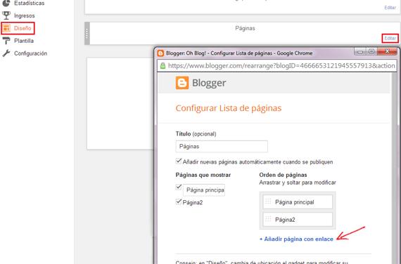 Opciones de configuración del widget de paginas estaticas