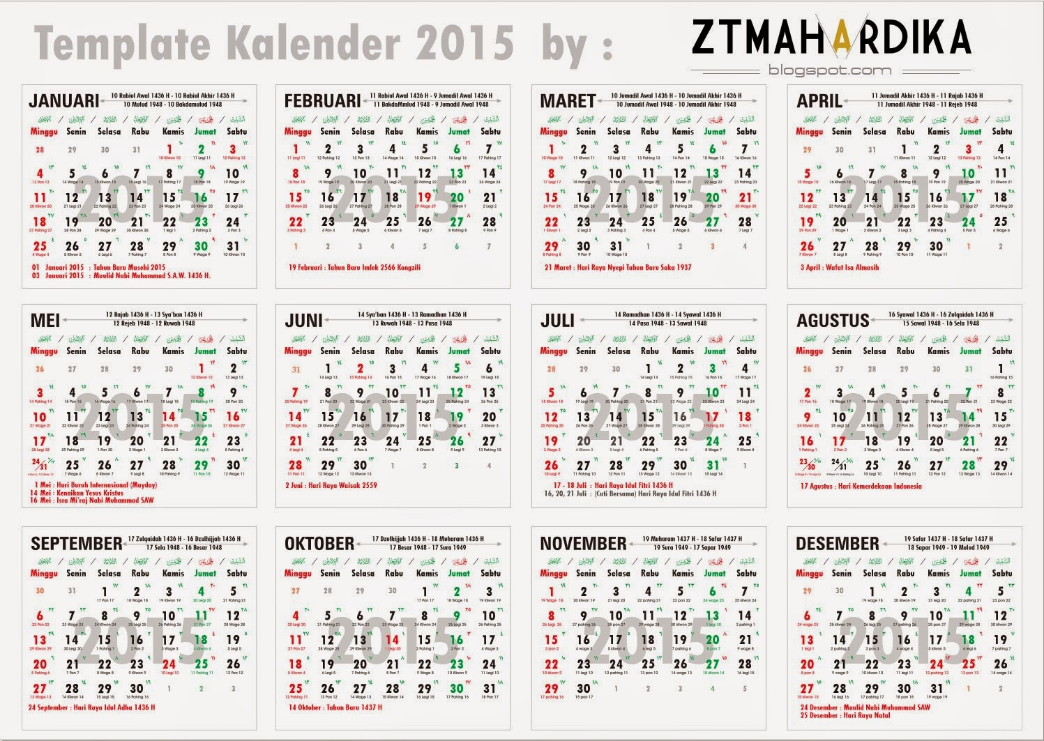 Download Template Kalender 2016 Indonesia Lengkap Hari ...