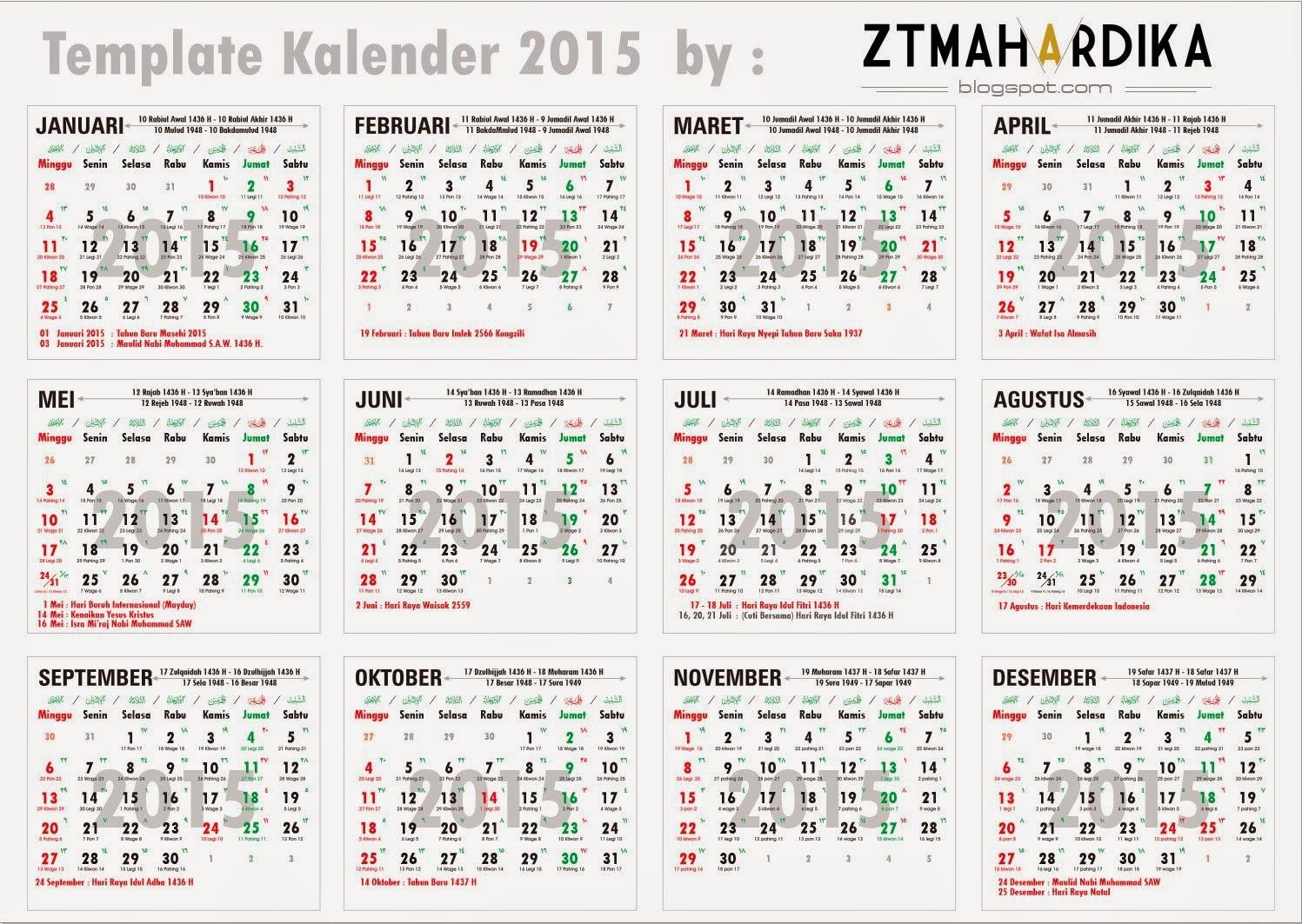 Template Kalender 2015 Lengkap Libur Nasional Amp Kalender Jawa. Free ...