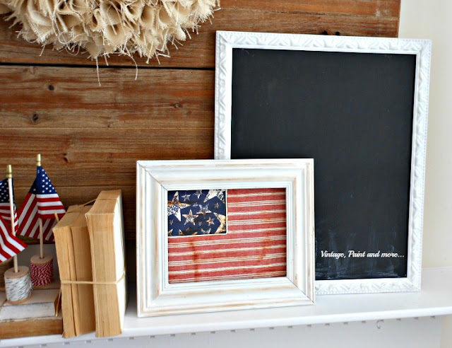 Vintage, Paint and more... a vintage patriotic mantel with distressed frames, diy paper flag, chalkboard