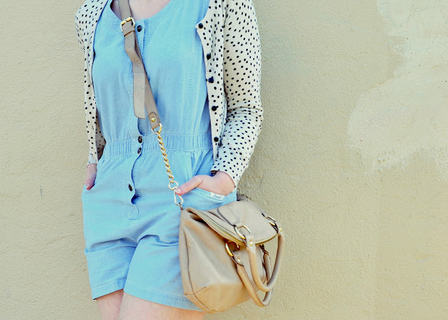 baseball cap, chambray, romper, vintage, polka dots, street style, how to, spring 2013, fleur d'elise, accessorize