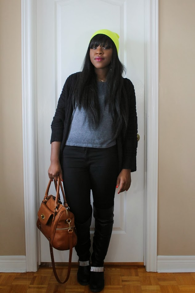 neon beanie, black cardigan, over the knee boots