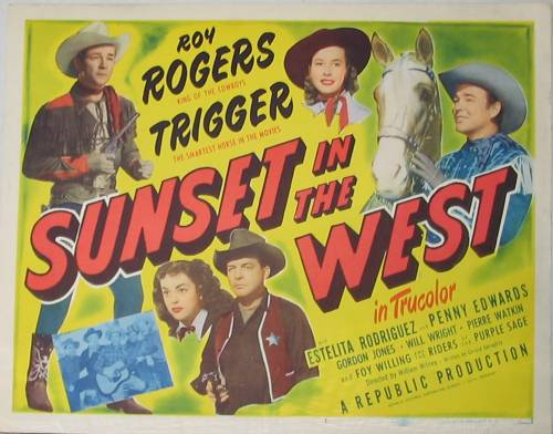 Roy Rogers Sunset In The West 1950 Vintage Film Poster