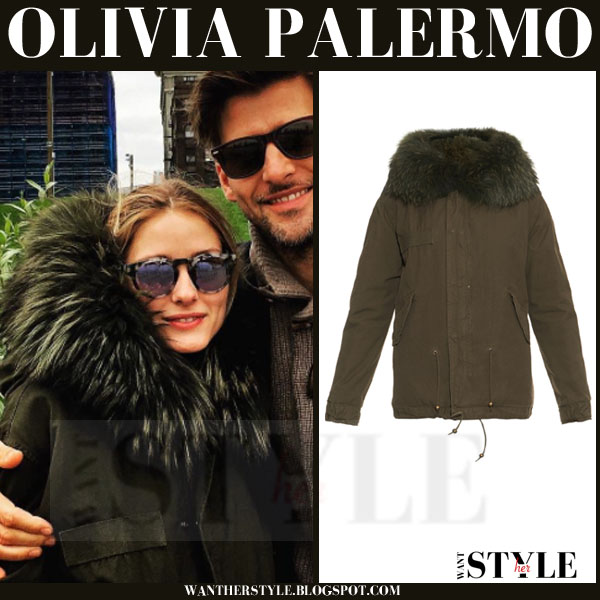 Olivia Palermo in green parka with large fur collar mr & mrs italy what she wore winter streetstyle