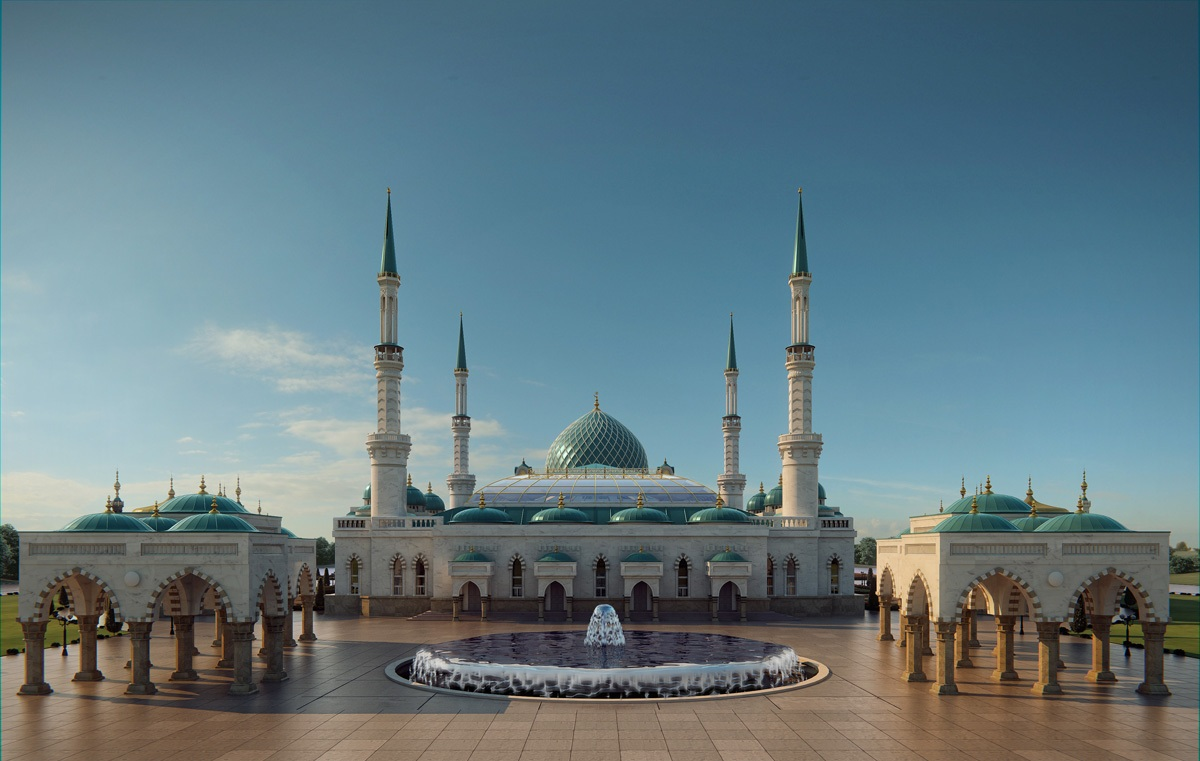 Mosque 3D Front Elevation of Turkey