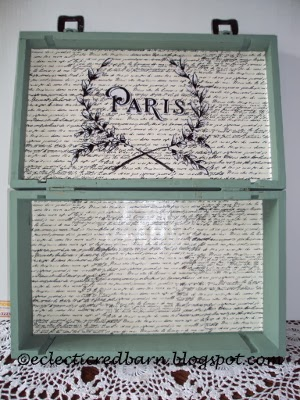 Eclectic Red Barn: Inside of  Wine box with Paris graphic
