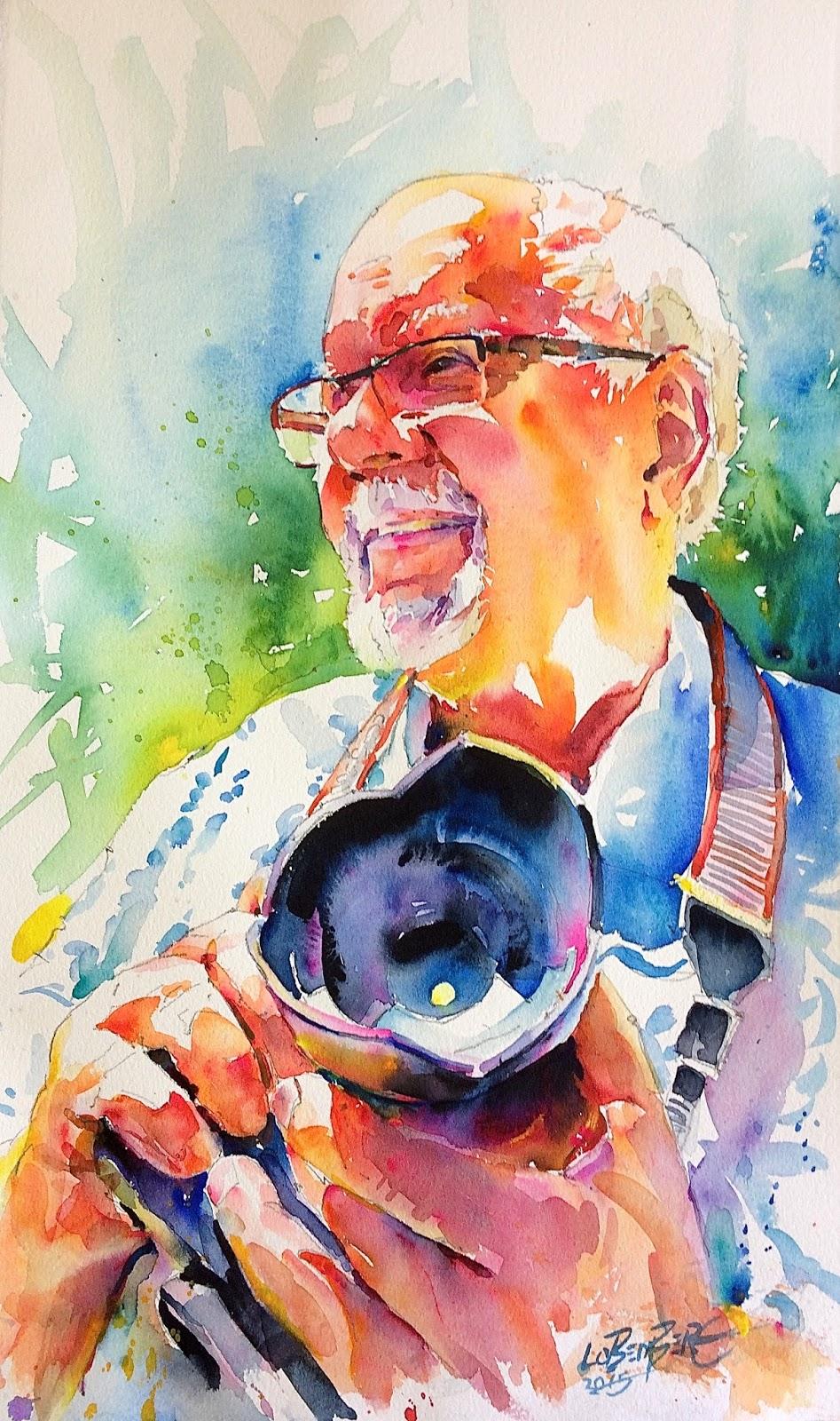 David lobenberg three recent watercolor portraits for Popular painting ideas