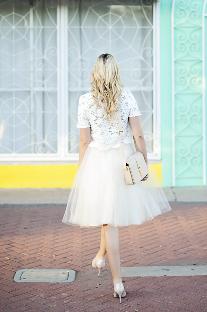 Gorjana, Kaley Cuoco, EB, Epidermolysis Bullosa, EBMRF, Charity, Butterfly, Wings, Gold, Delicate, Bracelet, Alexandra Grecco, Tulle, Ivory, Midi, Skirt, Topshop, Lace, White, Scallop, Hem, Crop, Top, YSL, Saint Laurent, Monogramme, Shoulder, Cross Body, Nude, Bag, Miu Miu, Glitter, Patent, Heel, Caitlin Lindquist, A Little Dash of Darling, Outfit Ideas, Outfit Inspiration, Street Style, Fashion Blog, Arizona, Phoenix,