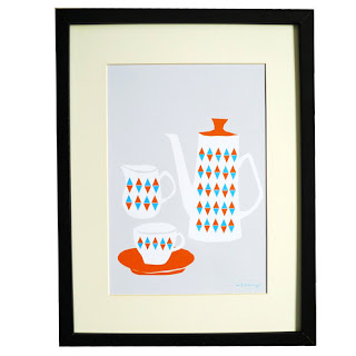 tea ceremony handmade retro scandinavian coffee set print