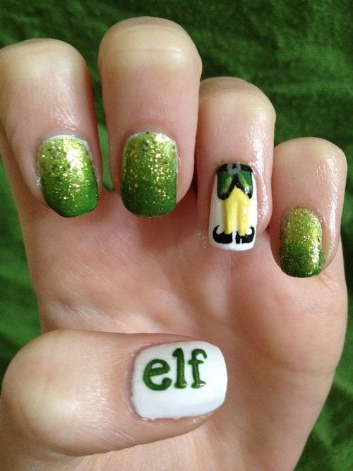 Cute christmas nail art designs fashion hippoo use glitter polish for the three nails the word elf can be written using a nail art pen the body of elf is easy to draw with the shapes required being prinsesfo Images
