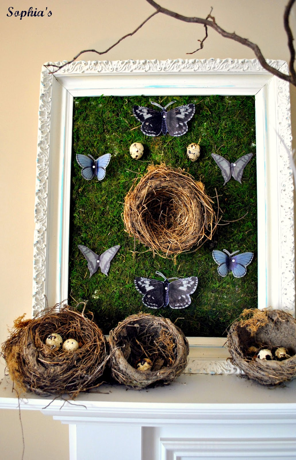 Bird Nest Spring Mantel