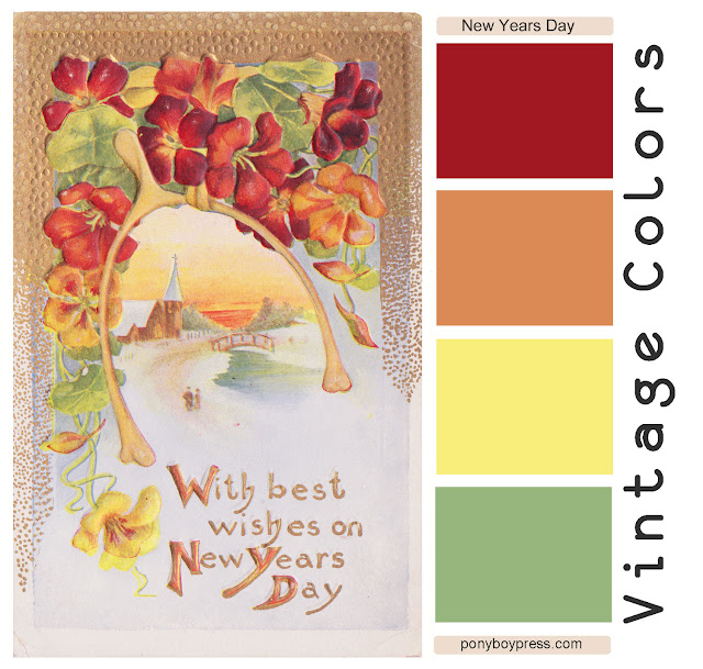 Vintage Color Palette - New Years Day - find the hex codes on the blog. Ponyboy Press