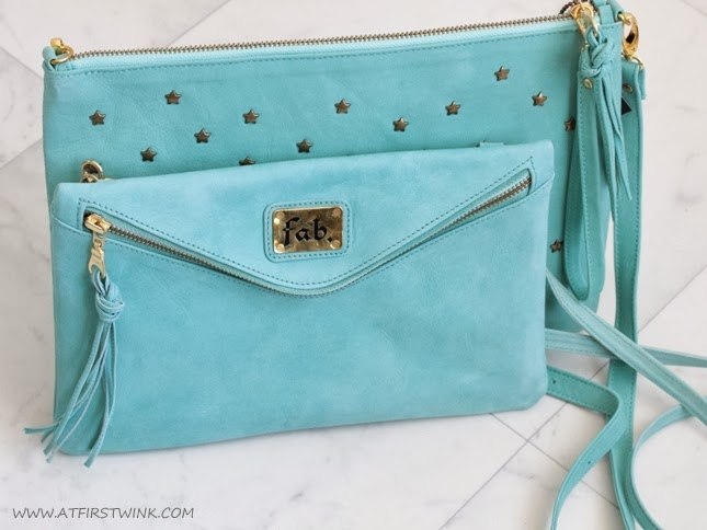 Fab. Suzy bag star stud - aqua compared to the Fab. Beatrix clutch