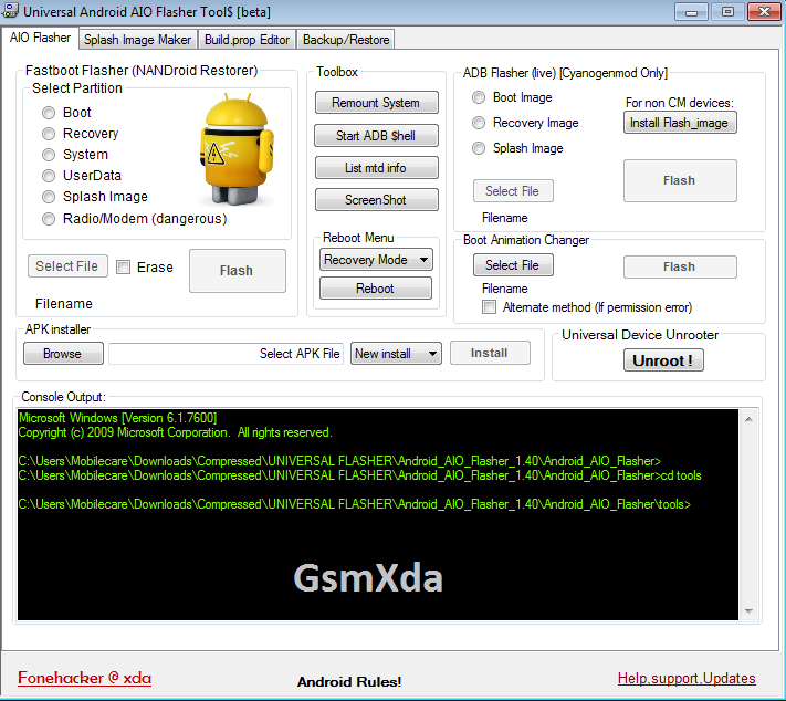 Android AIO Flasher 1.40 beta by Fonehacker free download