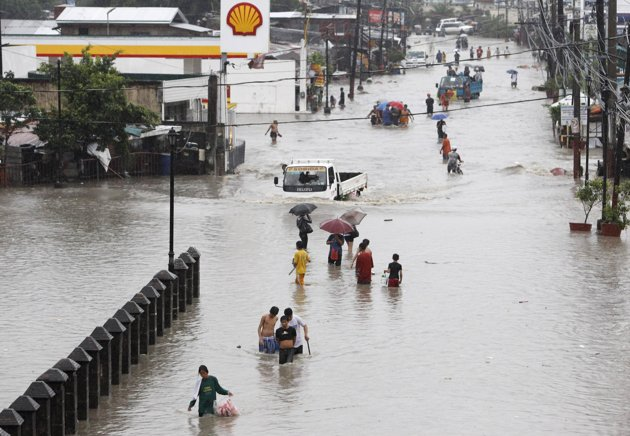As seen in flooded street in Las Pinas, Metro Manila