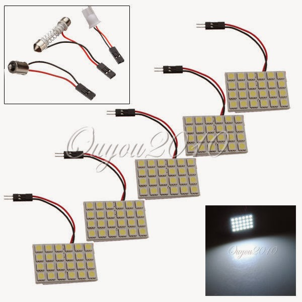 10X 24LED Panel 5050 SMD Car Pure White Dome BA9S T10 Festoon Adapter Light Lamp