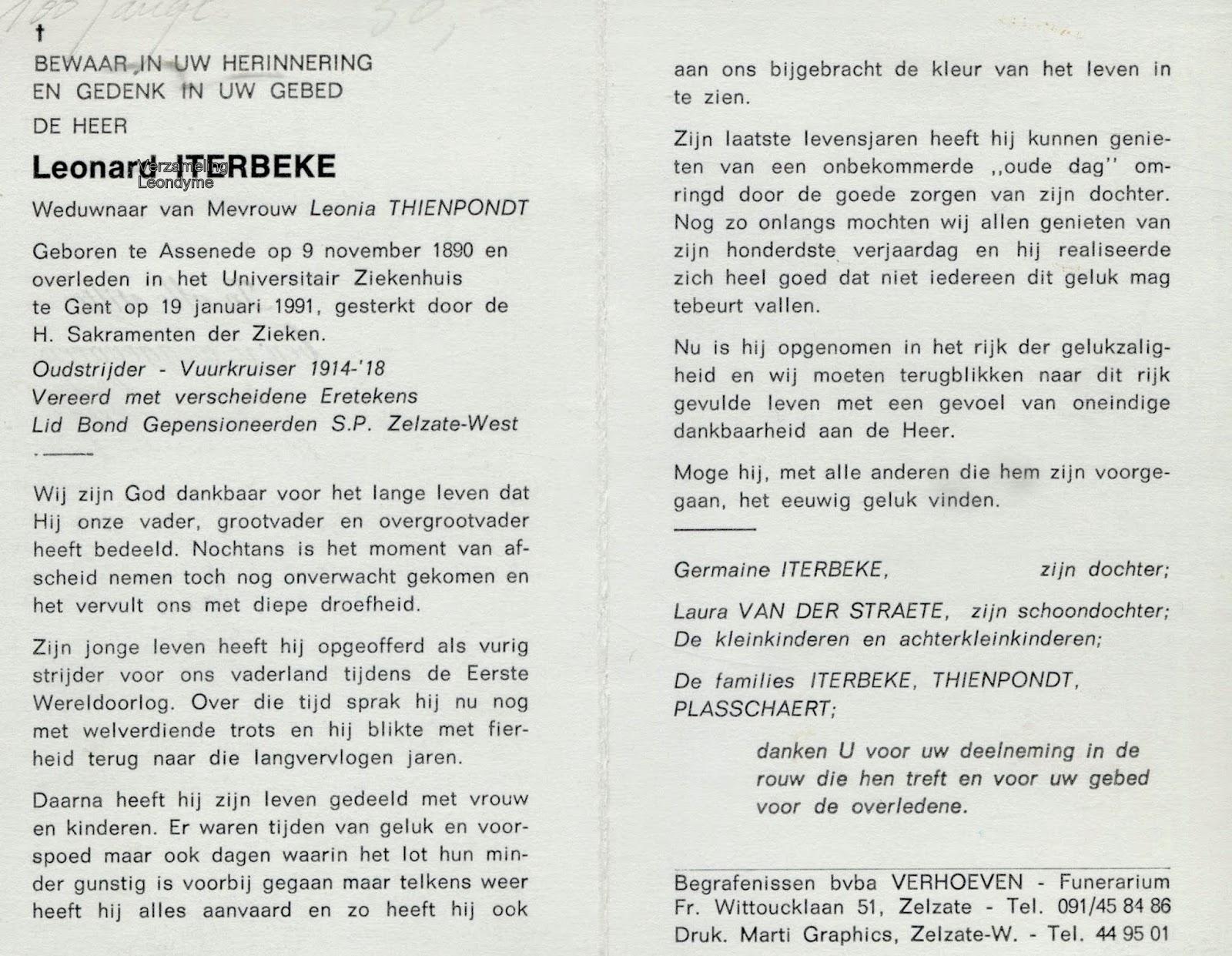 Bidprentje, Leonard Iterbeke 1890-1991. Verzameling Leondyme.