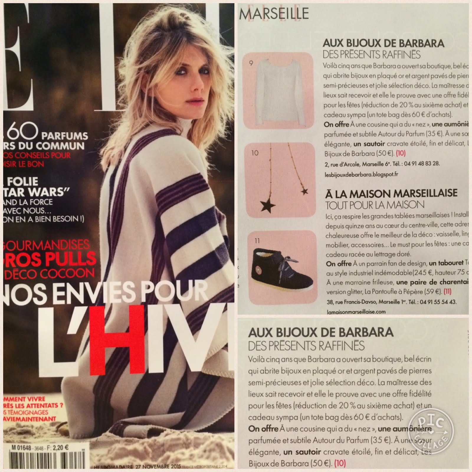 Article ELLE magazine (parution du 27.11.2015)