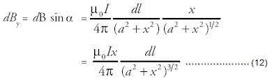 vektor dB yang tegak lurus sumbu x