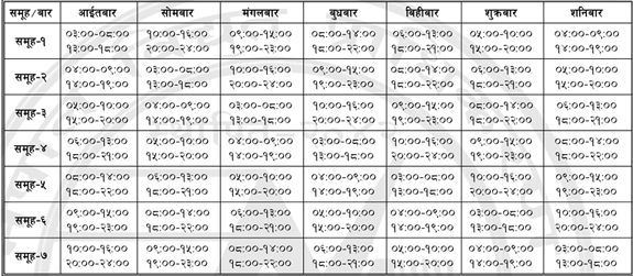loadshedding schedule updated on 2069-11-28
