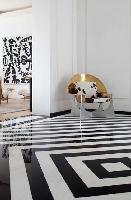 graphic black and white floor