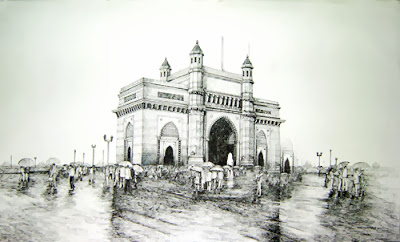 Mumbai Landmarks in Pen & Ink on Canvas by Sidhaling Ankalkote at Pradarshak