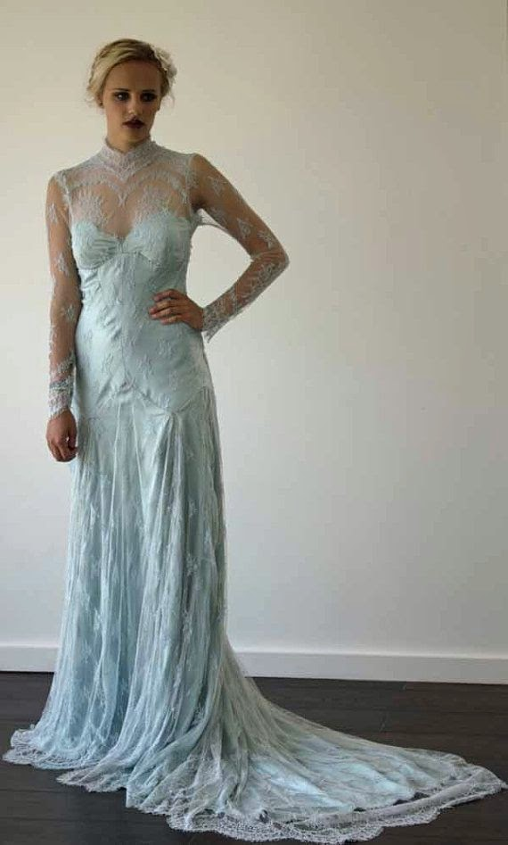 1930s Pastel Blue Lace Wedding - Affordable Blue Wedding Dresses