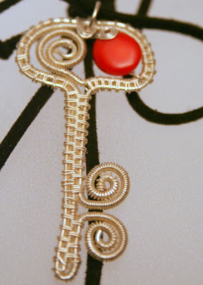 Martisor: weaving wire, coral, silver, ooak pendant :: All Pretty Things