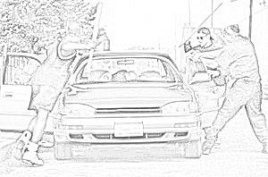 Video eines Auto Highjackings, carjackings, eines fahrzeuges welches ge- hijacked wird.