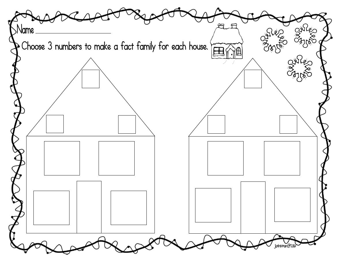 worksheet Fact Family mrs brinkmans blog math fact families for the family houses largest number goes on top of triangular roof other two numbers are written in small boxes sides of