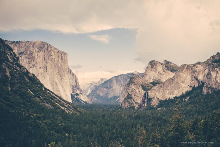 """view of half dome, el capitan, and bridalveil falls at Yosemite National Park"""