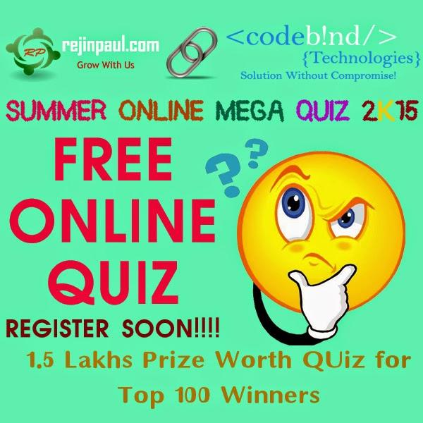 Rejinpaul.com Presents Online Mega Quiz Contest with CODEBIND TECHNOLOGIES