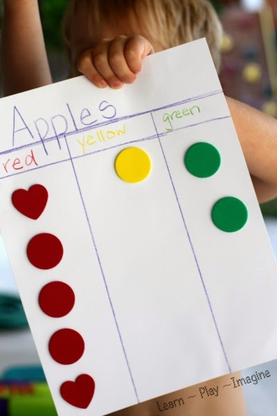 Apple graphing - kindergarten math activity for fall