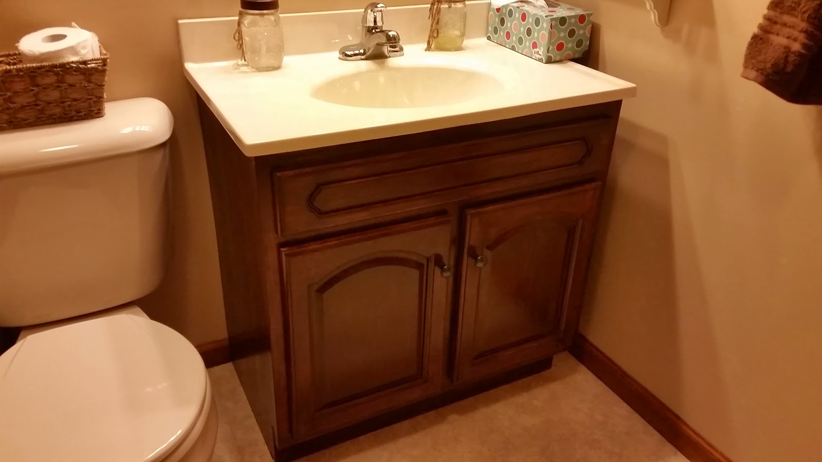 3 creative girls bathroom vanity makeover with gel stain for How to stain a bathroom vanity